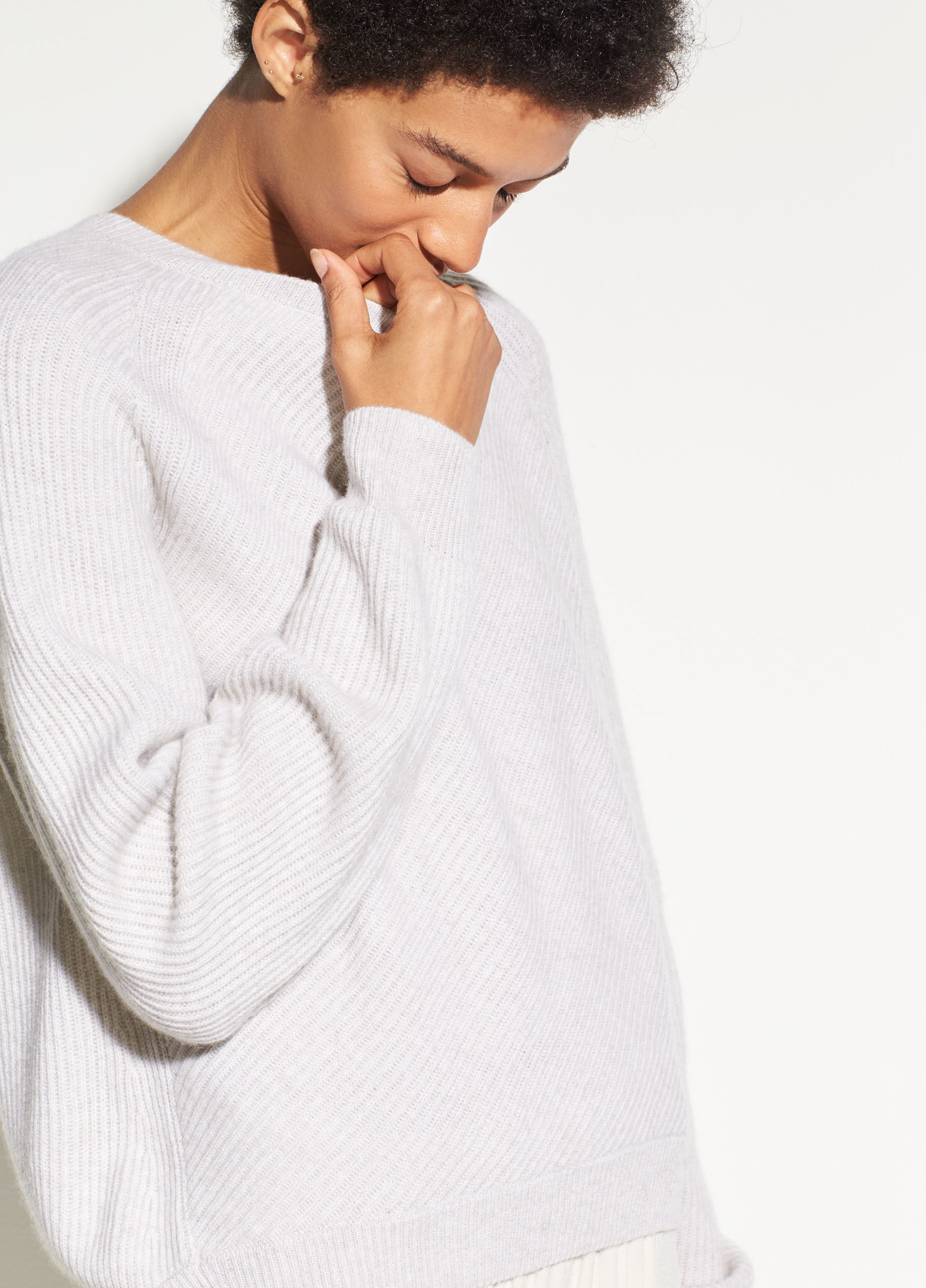 Vince Diagonal Rib Wool And Cashmere Crew Heather Cloud M