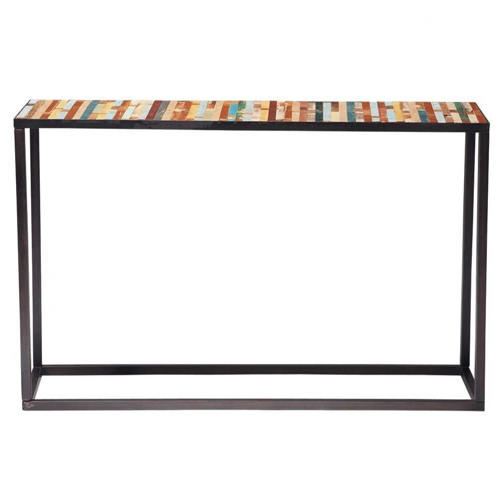 Romy Square Metal Coffee Table Am Pm: Konsolentisch Aus Metall Und Holz, B 120 Cm, Bunt Bahia