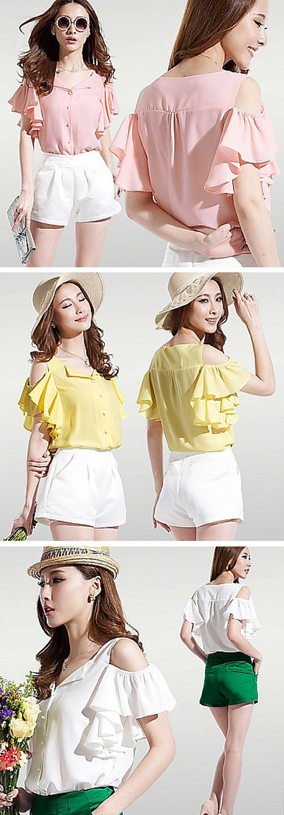 Off the shoulder ruffle sleeve top. This blouse is so light, effortless and lovely. It looks gorgeous with white shorts or skirt. Get it in pink, yellow or white.