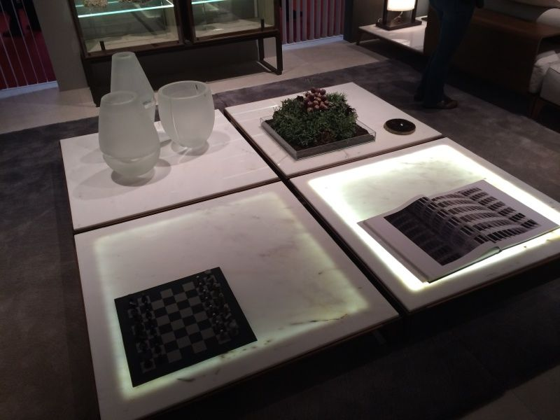 Giorgetti backlit marble coffee tables, Milan Furniture Fair