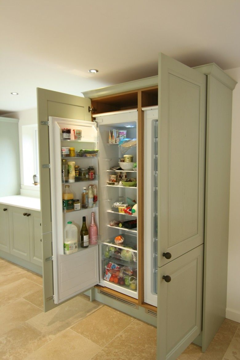shaker kitchen with freestanding centre island american fridge built in larder fridge google search
