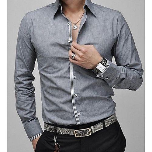 1583e223b0 Camisa De los hombres Un Color Casual   Tallas Grandes-Algodón    Poliéster-Manga Larga-Azul   Rosa   Blanco   Gris 2018 -  23481