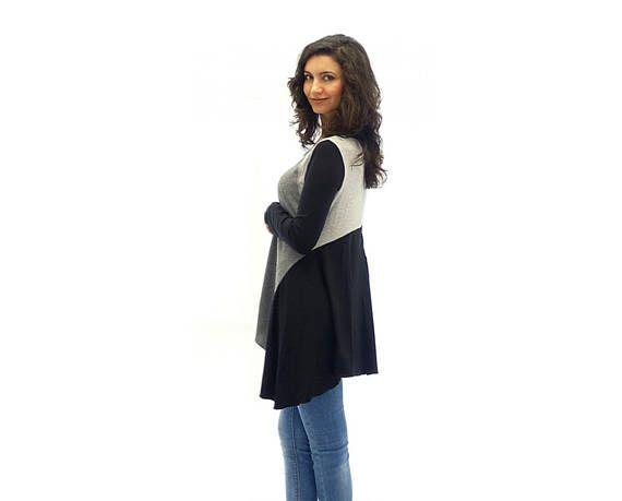 Long sleeves maxi tunic Plus size womens tunic dress
