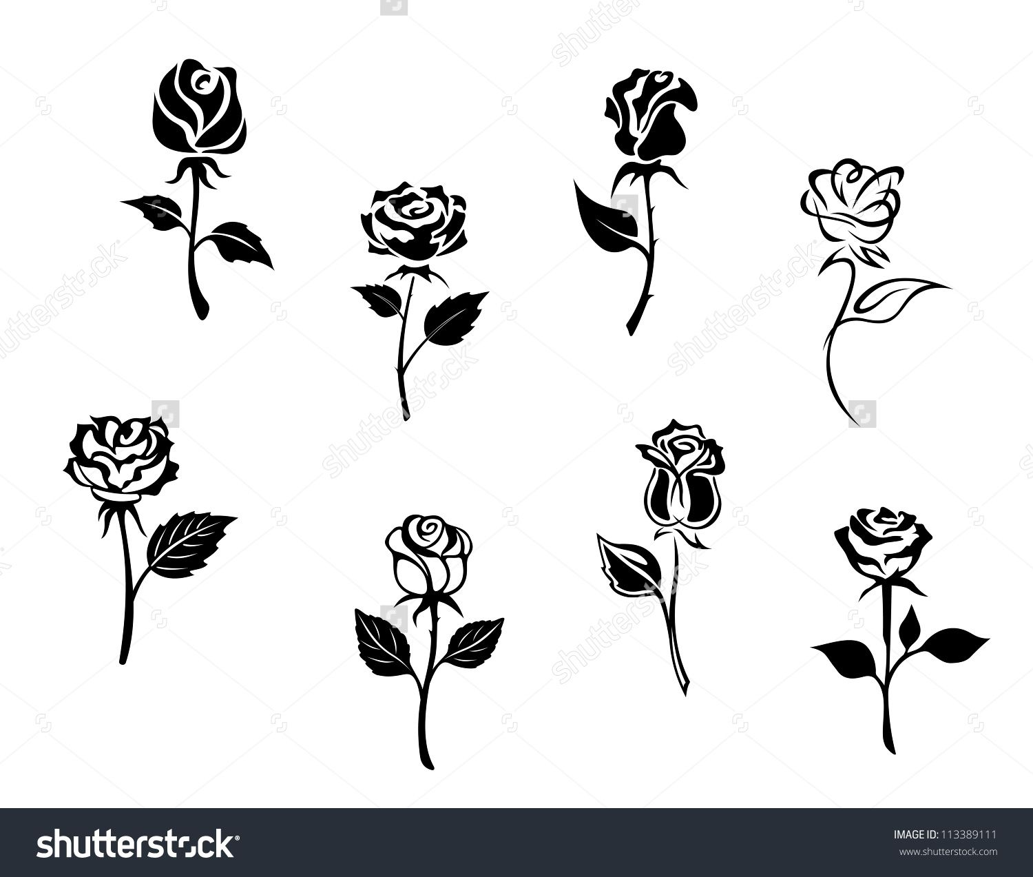 Stock Vector Rose Flowers Set Isolated On White Background For Design And Embellishments Such A Logo Template 113389 Flower Silhouette Rose Flower Rose Clipart