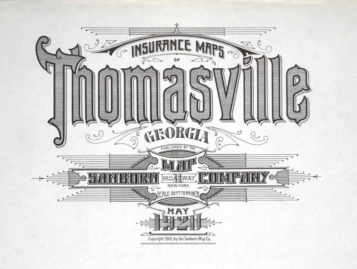 Thomasaville Georgia May 1920 Vintage Typography Typography