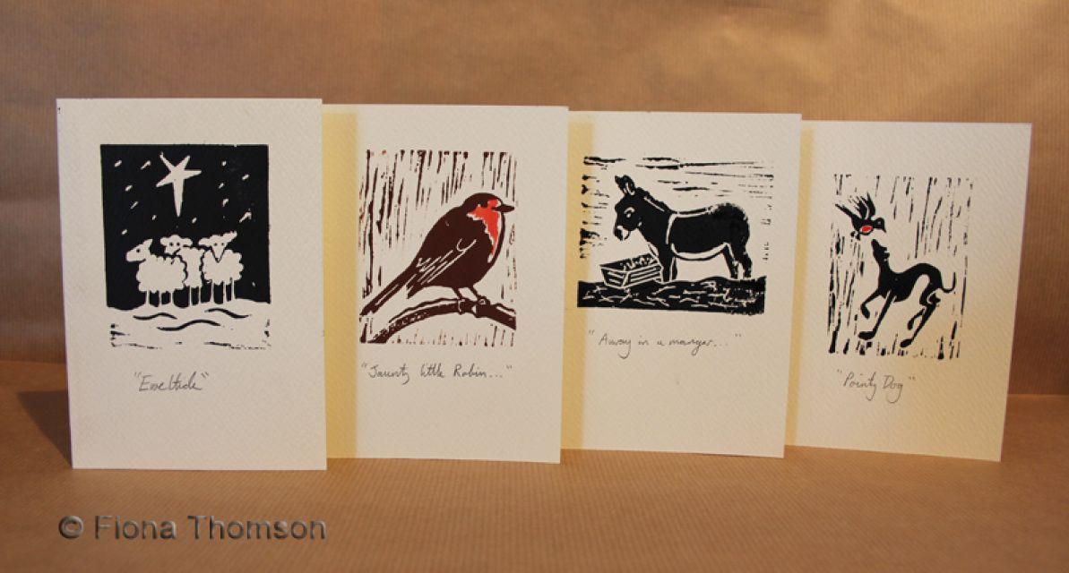 xmas lino print | LINO-CUT ORIGINAL PRINT CHRISTMAS CARDS - Fiona ...
