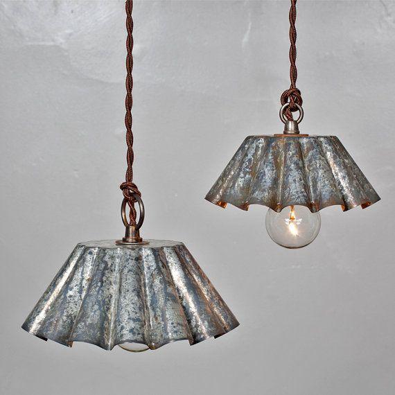 vintage industrial rustic modern brioche tin pendant light barn aged patina sm vintage. Black Bedroom Furniture Sets. Home Design Ideas