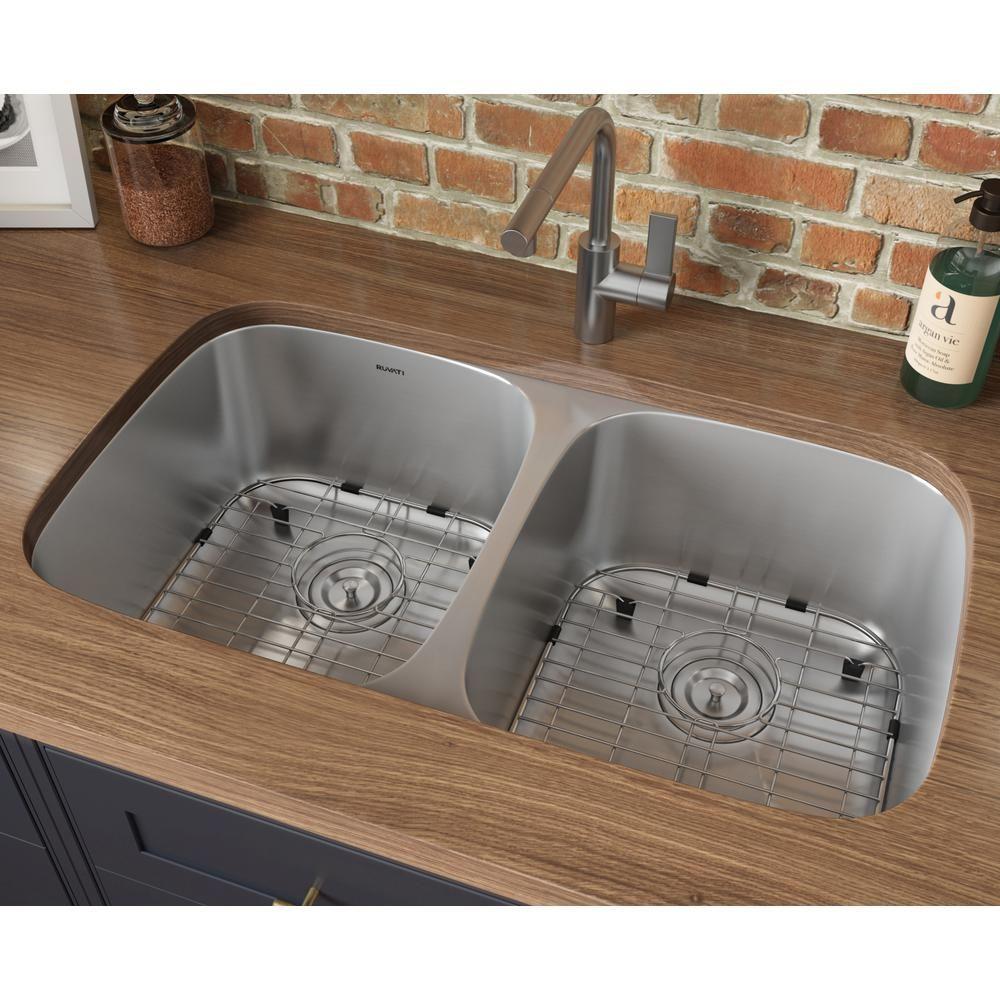 Ruvati 50 50 Undermount 16 Gauge Stainless Steel 29 In Double Bowl Kitchen Sink Rvm4301 The Home Depot In 2021 Double Bowl Kitchen Sink Sink Stainless Steel Kitchen Sink Undermount