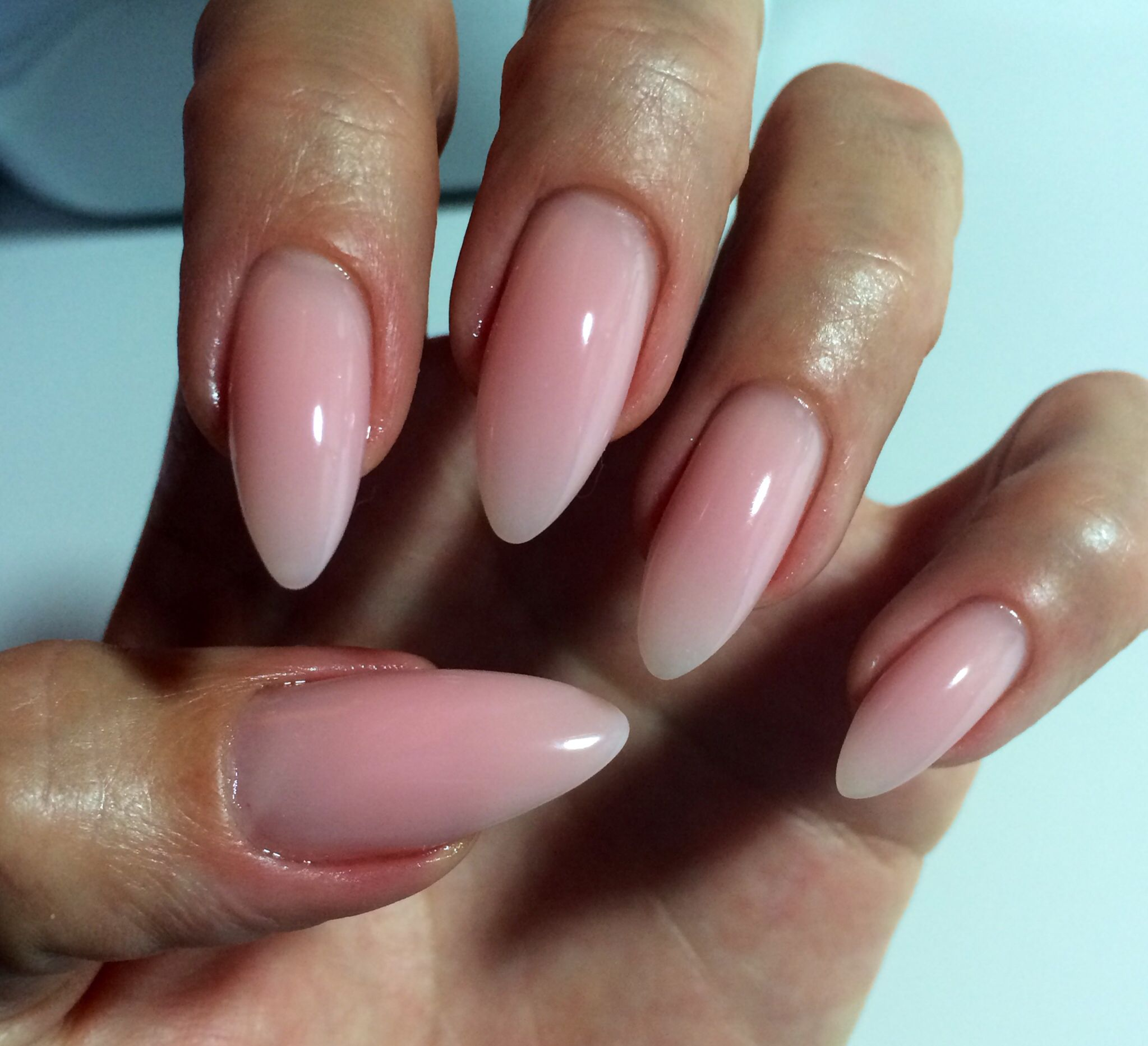 Pink Almond Nails Natural Gel Nail Design Stiletto Yes Now To Find A Tech Who Can Create This For Me