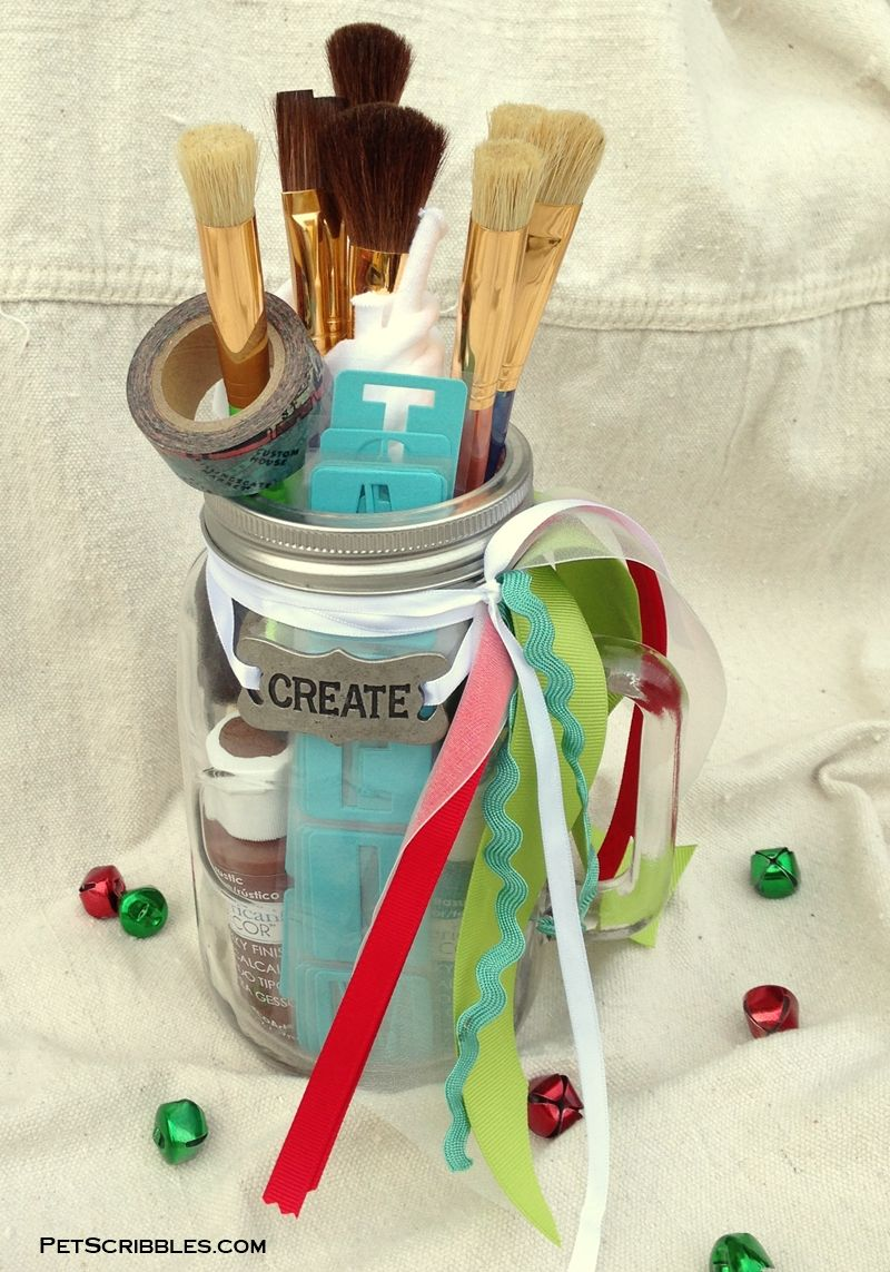 Mason jar gift for craft painters plus 30 more gift in a jar mason jar crafts solutioingenieria Image collections