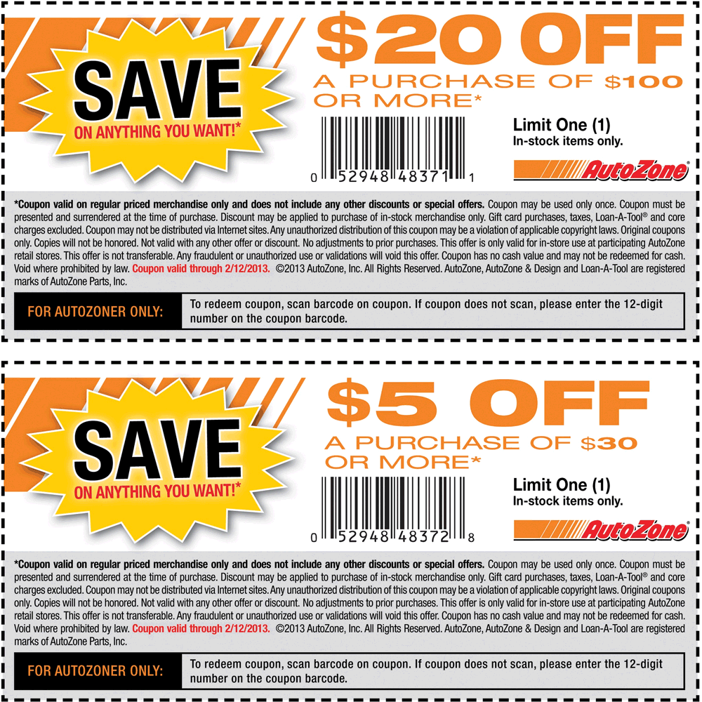 $5 off $30 and $20 off $100 at autozone coupon via the coupons app
