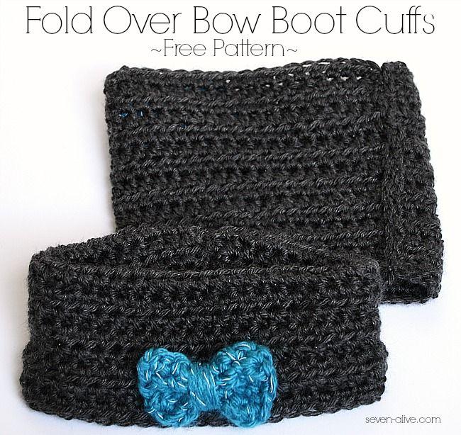 Fold Over Bow Crocheted Boot Cuff ~ Free Pattern | Rezept | Stricken ...