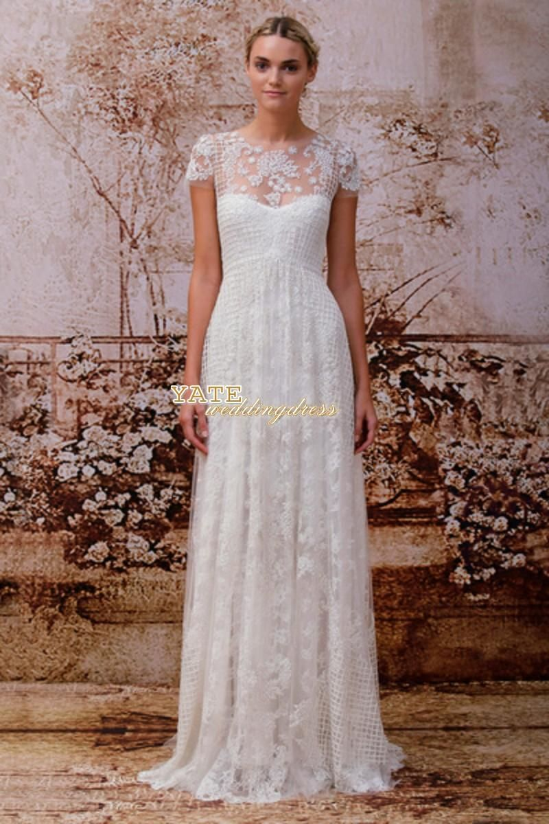 Wholesale Wedding Dress - Buy Elegant Crew A-line Lace And Organza Short Sleeve Applique Wedding Dresses 2014 Bridal Vestidos, $152.68 | DHgate