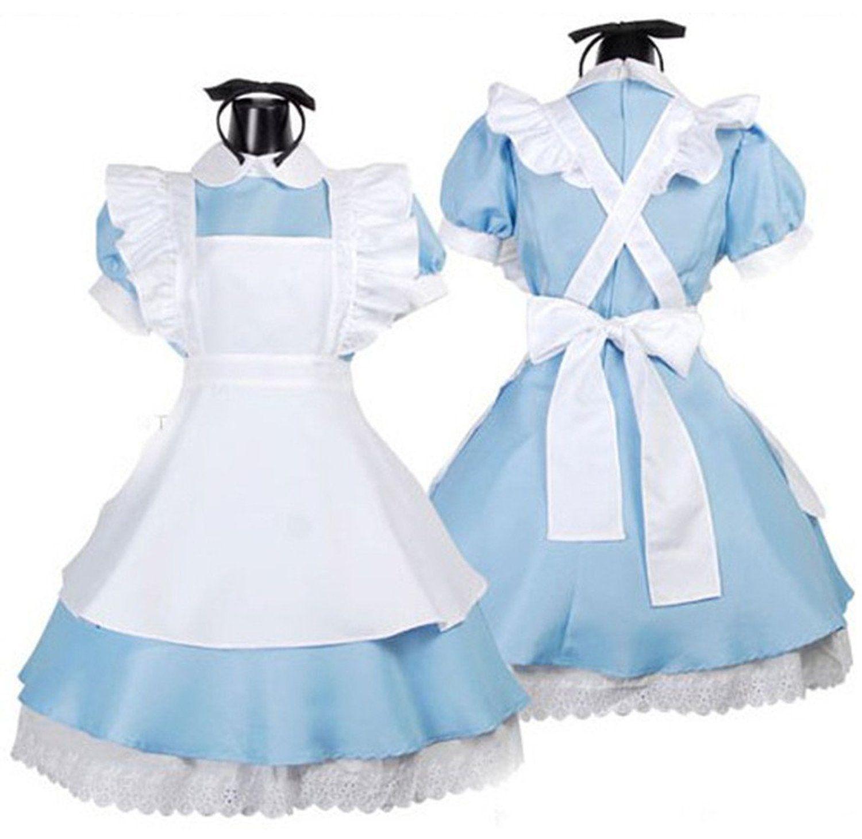 Halloween Womens Alice\'s Wonderland Cosplay Costumes Dress Set Apron ...