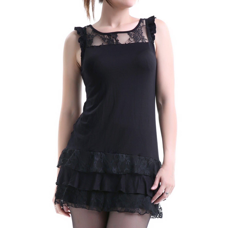 Vestido gótico con encaje en cuello y falda crazyinlove españa
