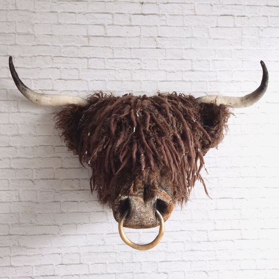 Angus Faux Taxidermy Highland Coo Faux Taxidermy Wall Art Wall Decor Hairy Cow Highland Coo Scottish Wall Mounted Head Bull Faux Taxidermy Faux Animal Head Unusual Wall Art