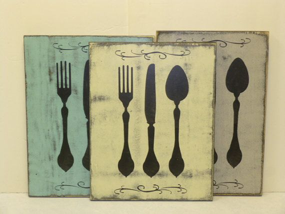 KNIFE FORK & SPOON / kitchen plaque / silverware by SophiesCottage ...