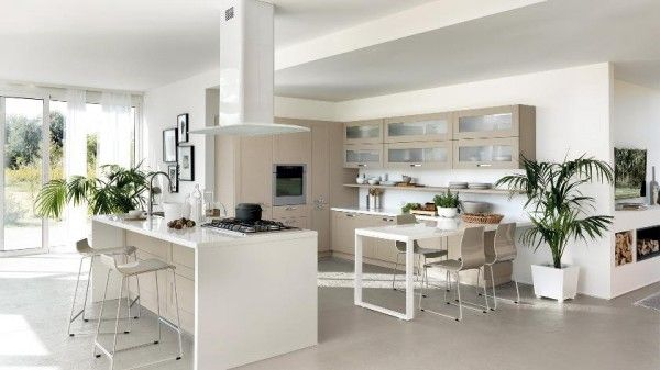 Moderne Offene Küche Scavolini Weiß Helles Holz Kochinsel