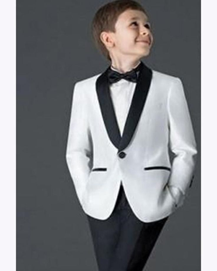 Boys Check Tuxedo Suit Set 3 Pcs Morden Fit Dress Suit Set Formal Jacket Vest Pants 2T-12Y