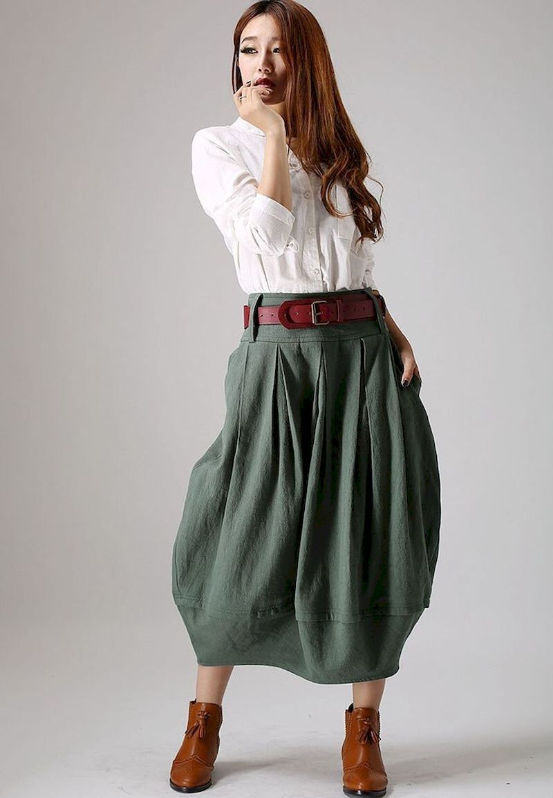 40 Simple Spring Style with Linen Skirt