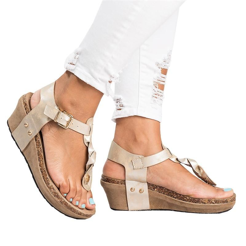 7967bfa7d00 Chellysun Women s Boho Braided Wedge T-Strap Sandals boho summer  comfortable strappy Gladiator leather resort