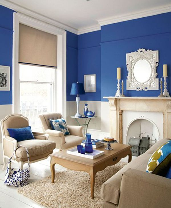 Room · Blue And Cream Living ...