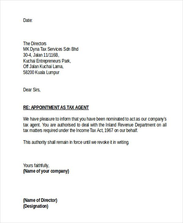agent appointment letter template free word pdf format download - business letter sample word