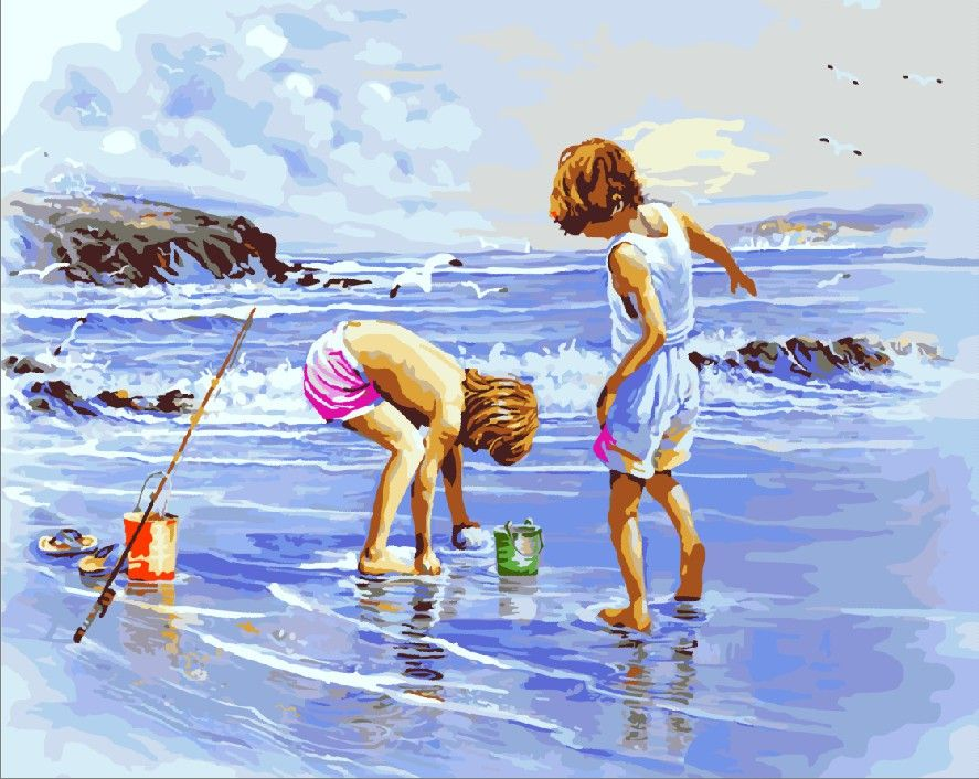 Beach comb---2016 Hot Sale DIY digital oil painting by numbers frameless free shipping home decoration $11.88