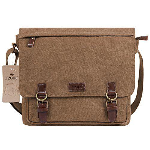 S Zone Vintage Canvas Messenger Bag School Shoulder For 13 3 15inch Laptop Business