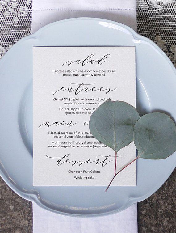Wedding Menu 5 Printable by 3EggsDesign on Etsy