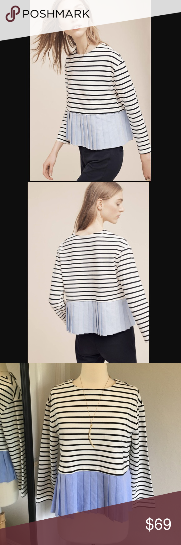 """Anthropologie Deletta Wylie top NWT. Size S. Soft and stretchable material. Cute pleated portion. Nice combination of color. 21"""" long. Shoulder across 18"""". Armpit across 19""""1/2. Anthropologie Tops"""