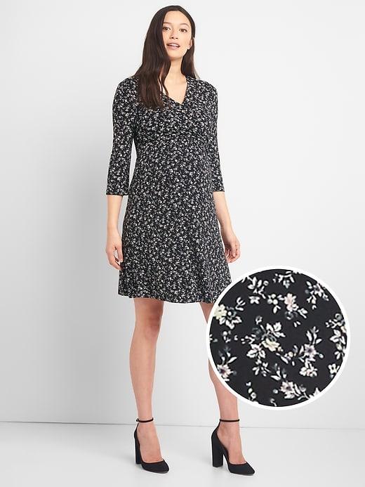 4100a2f9bd4 Gap Womens Maternity Print Nursing Wrap Dress Black Floral ...