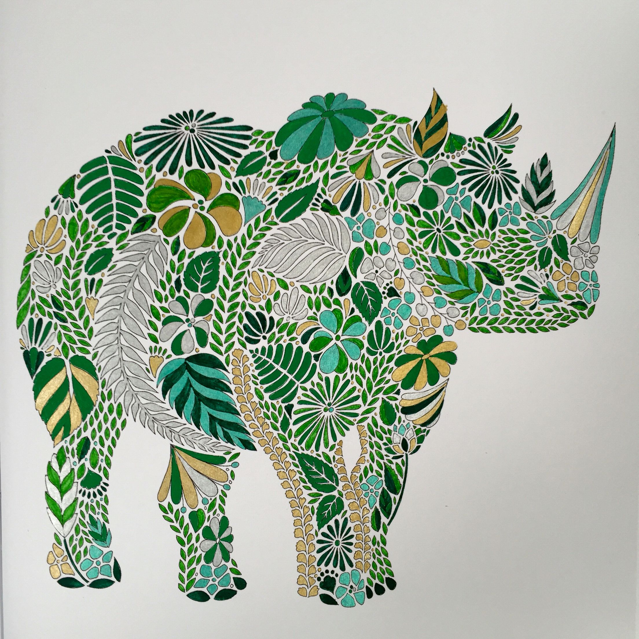 Explore Colouring Coloring Books And More Millie Marotta Animal Kingdom Rhino