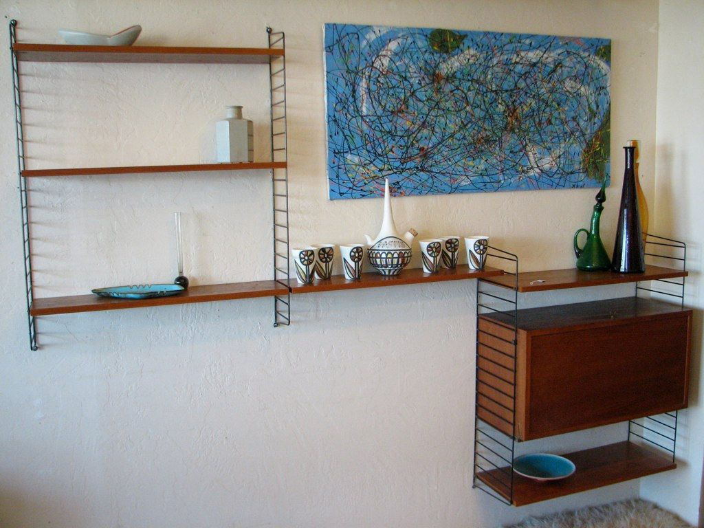 Vintage wall unit 50s swedish string wall shelf mid century vintage wall unit 50s swedish string wall shelf mid century modern modular wall shelving amipublicfo Gallery