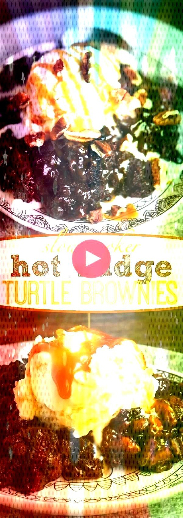 outrageously delicious, these Slow Cooker Hot Fudge Turtle Brownies are going to rock your world! H