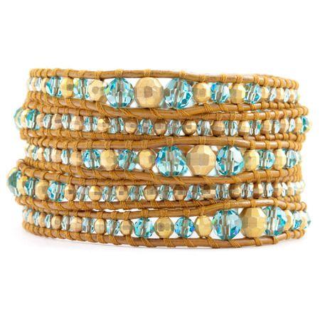 Light Turquoise Mix Graduated Wrap Bracelet on Henna Leather