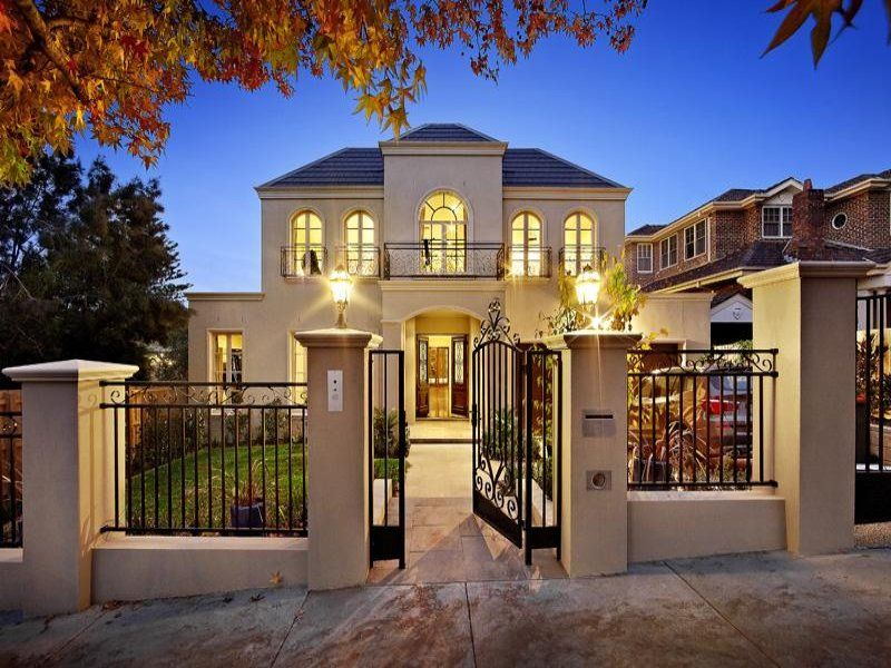 Pavers Georgian House Exterior With French Doors Decorative Lighting
