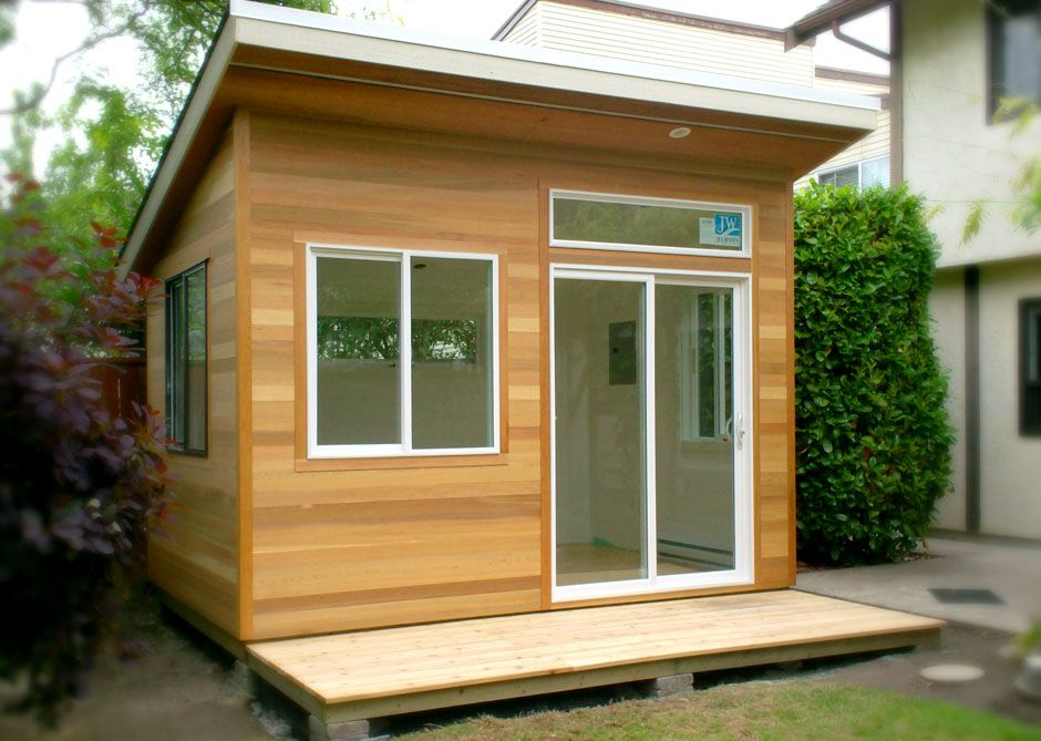 my shed plans this studio has a 9 front wall in order to accommodate the transom window over the door and a 4 wide cedar deck