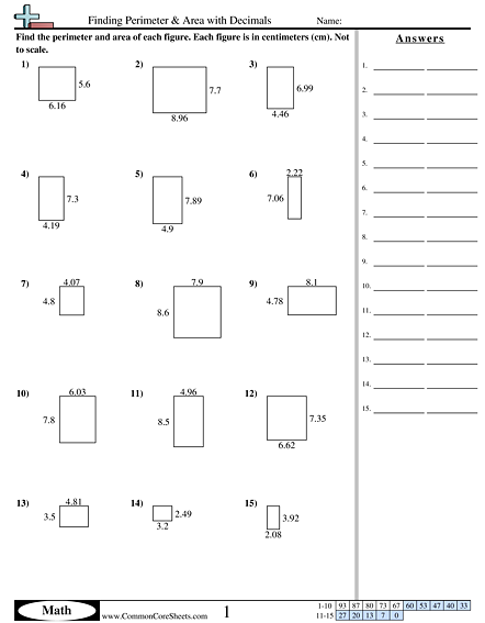 finding perimeter area with decimals worksheet homeschooling pinterest perimeter. Black Bedroom Furniture Sets. Home Design Ideas