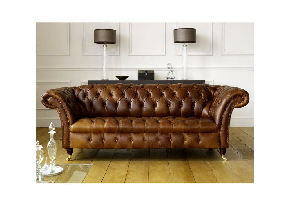 Darwin 3 Seater Chesterfield Sofa Fly Away Arms Turned Legs And Castors From The Leather Manchester