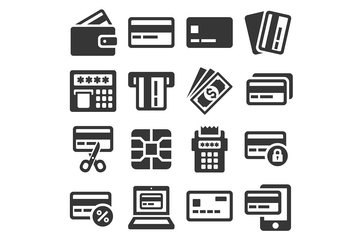Credit card icons set credit card icon card drawing