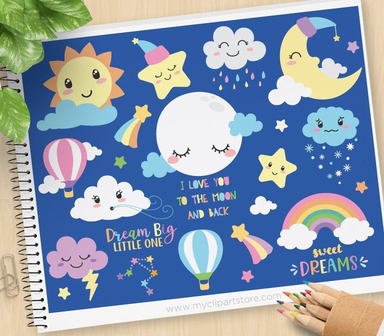 Sun Moon And Stars Clipart Clouds Weather Kawaii Cute Etsy In 2021 Star Clipart Good Night Moon Clip Art
