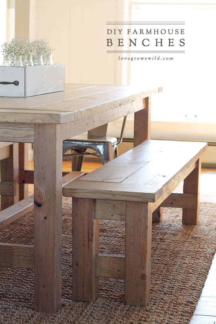 DIY Farmhouse Bench Home DIY Pinterest Farmhouse Bench Small - Small farm table with bench