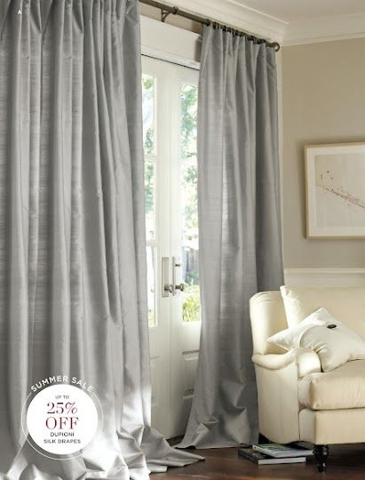 Pottery Barn Dupioni Silk Drapes In Platinum Grey. Http://www.potterybarn ·  Silk CurtainsBedroom ...