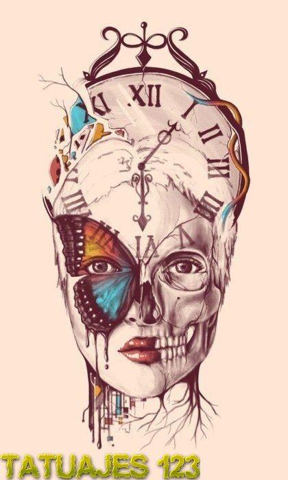 Diseño De Tatuaje Sobre El Paso Del Tiempo Drawingspaintings