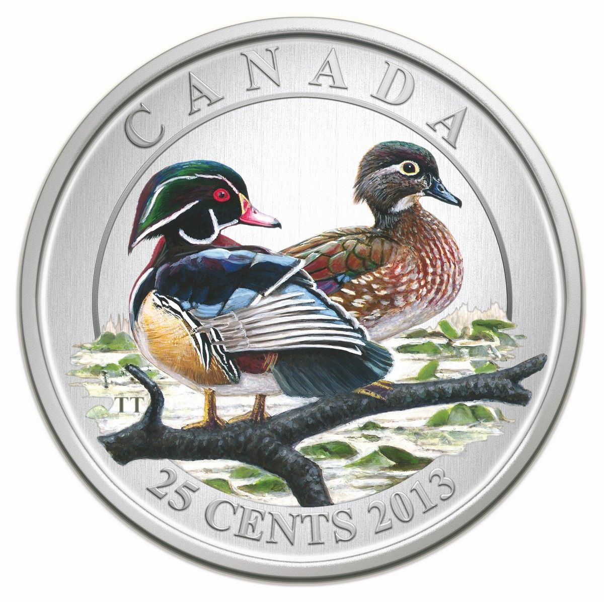 Royal Canadian Mint 2013 25 Cent Coloured Coin Ducks Of