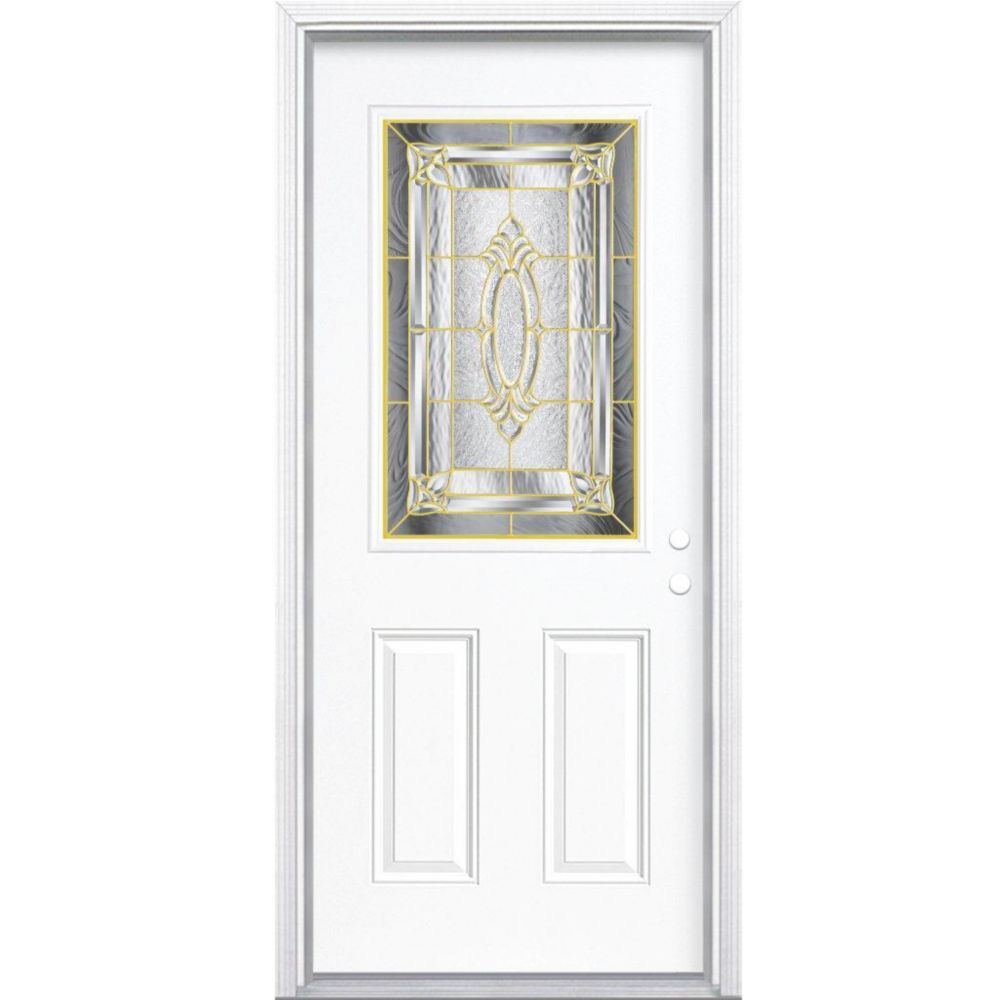 Providence Brass Half Lite Left Hand Entry Door With Brickmould.