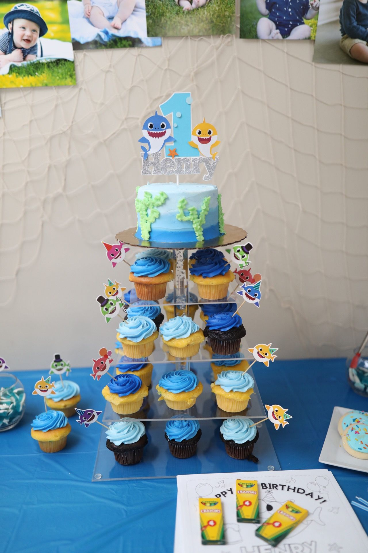 Baby Shark Birthday Party Cupcakes Cake Smash Cake Ping Fong With