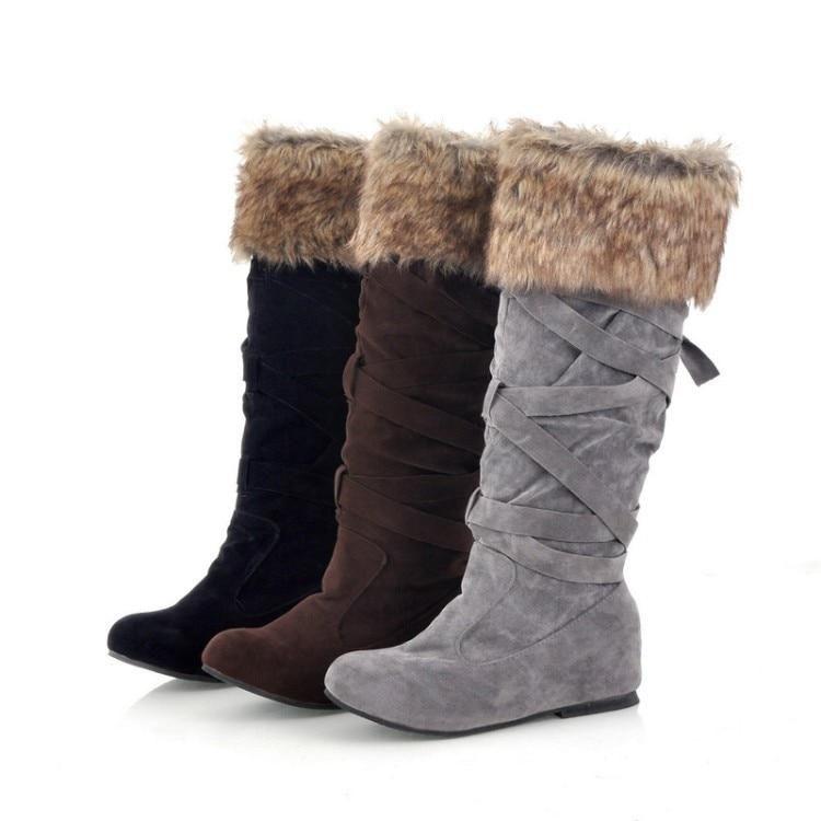 Prada Suede Fur Cuff Mid Calf Boot Deserto: Women's Faux Suede Mid Calf Flat Warm Comfortable Thigh