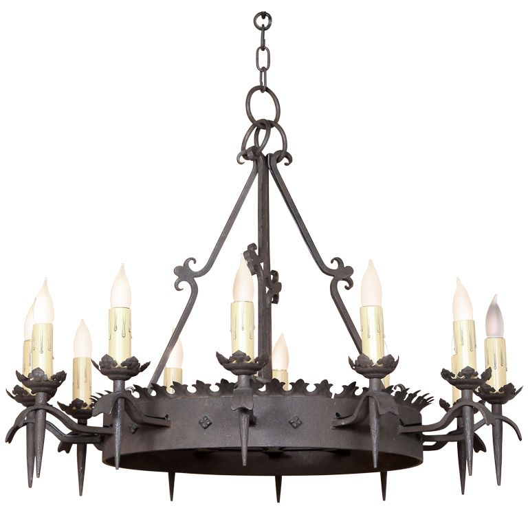 Vintage Gothic Wrought Iron Chandelier From A Unique Collection